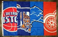 Detroit Lions Red Wings Tigers Pistons FLAG 3x5 ft Sports Banner Man-Cave NEW