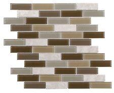 Modern Linear Brown Grey Glass Stone Mosaic Tile Backsplash Kitchen Wall Mto0292