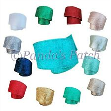 Wired Christmas Glitter Sparkle Ribbon Large 63mm - Choose Colour and Length