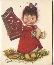 VINTAGE COUNTRY GIRL CHARM ZITHER SONG SHEET BARE FEET FLOWERS ART CARD PRINT