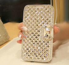 Bling Crystal Stand Card Slot Magnetic Flip Wallet Leather Case For Samsung S6