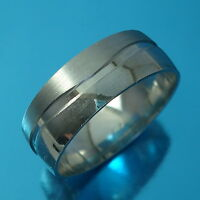 Solid 925 Sterling Silver Band Ring 8mm Wide Wedding Jewellery Various Sizes