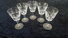 5 WATERFORD CRYSTAL ASHLING WINE GLASS CLARET STEM WARE CUT FANS PANELS
