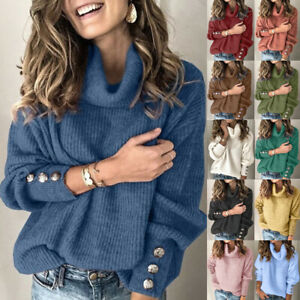 Womens Long Sleeve Sequins Knitted Tee Blouse Pullover Loose Jumper Ladies Tops