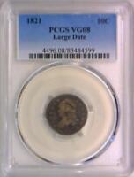 1821 Large Date Capped Bust Dime PCGS VG-08; JR-4