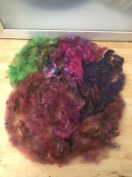Multi-colour Pulled Reclaimed Silk-carding-felting-spinning-recycle-Charity Sale