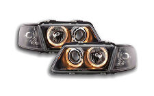 Audi a3 8L 1996-2000 Black Ring Angel Eyes Headlights Pair LHD/RHD FEE P&P