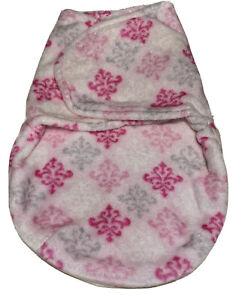 Baby Fleece wrap around sleepsack Swaddle size newborn Pink Floral Fluffy Soft
