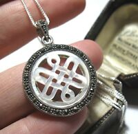 Beautiful Vintage Style Sterling SILVER Marcasite Shell CELTIC Pendant NECKLACE
