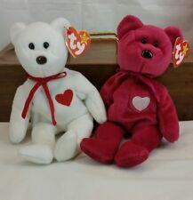 TY VALENTINO (white) & VALENTINA (pink) TY Beanie Baby Pair