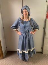 Vintage Pioneer Prairie Dress Reenactment 1800s Custom Hand Made Wamsutta Otc