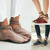 Womens Gladiator Casual Sandals Summer Flat Leather Ankle Strap Open Toe Shoes
