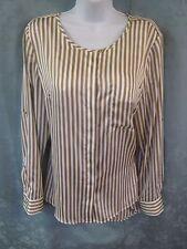 Dana Buchman Blouse Size 12 Gold & White Striped Satin Collarless NWT NEW