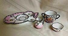 Rare French Porcelain Silver Overlay Vincennes Sevres Style Tea Breakfast Set