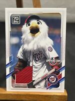 2021 Topps Opening Day SCREECH Mascot Relic Card Game Used Nationals