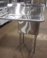 """1 Compartment Sink with 1 Left 18"""" Drain Board Faucet Included One Bay Prep Sink"""