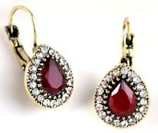 Beautiful Gold Oval Red Stone Diamante Drop Earrings Stud Pierced Ears E33 UK