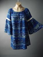 Sale Blue Black Painterly Ethnic Batik Pattern Boho Bell Sleeve 126 mv Dress S M
