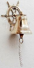 Nautical Marine Shiny Brass Wheel Ship Bell~Wall Hanging Door Bell Home Decor