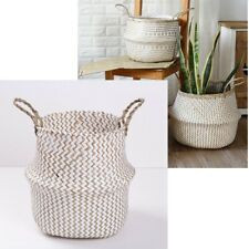 Seagrass Belly Basket Foldable For Fiddle Leaf Plant Pot Cover Holder Home Decor