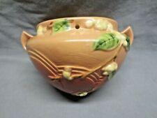 Vtg Roseville Snowberry Hanging Planter Vase Basket Double Handle Art Deco