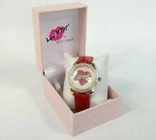 Betsey Johnson Luv Watch XOX Heart Red Glitter Band Gold Crystal Bezel NWT NIB