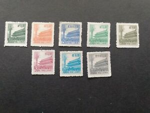 """CHINA - sc.# 206/213- 8 unused stamps """"Gate of Heavenly Peace """" (1953/54)"""