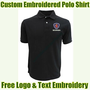NEW Custom Embroidered Polo Shirt With Scania Logo Garage & Technicians Names