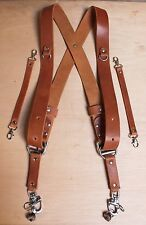 Dual Multi Camera Tan Leather Harness Shoulder Strap Made By Hand in England