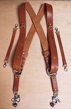 DOPPIA fotocamera Multi Tan Leather Harness tracolla fatta a mano in Inghilterra