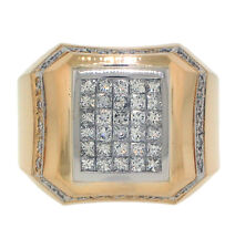 2.32ct PRINCESS & ROUND Invisible Set Diamond Men's Ring in 14K Two-Tone Gold