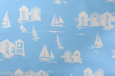 "2.6m/102"" beach huts blue pvc wipe clean oilcloth table protector TABLECLOTH CO"
