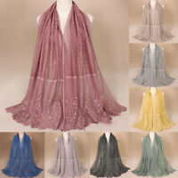 Women's Fashion Flower Floral Muslim Hijab Scarves Cotton Shawl Scarf Wrap New