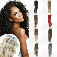 Deep Water Curly Remy Human Hair Extensions Tape in Skin Weft Indian Hair 18inch