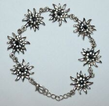 "7"" BRACELET Silver German Oktoberfest Dirndl Dress EDELWEISS FLOWER ~ NEW In BOX"