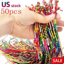 50 PCS Handmade Thread Woven Cords Hippie Anklet Braid Bracelet Cords Bracelet
