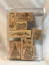 "Stampin' Up 2002 Set of 9 Wood Mounted Stamps ""Handstitched Holiday"""