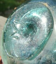 "JAPANESE Glass Fishing Float 3"" Aqua Makers Mark WP #370 Rare Antique +Stand"
