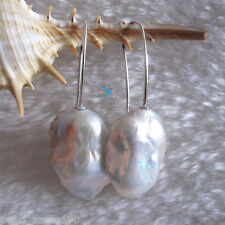 17-24mm White Ding Mussels Nuclear Freshwater Pearl Dangle Earrings D21S AC