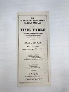 Staten Island Rapid Transit SIRT Public Timetable PTT May 15 1960