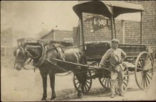 American Express Horse Wagon & Driver Earl St. Clair Gas Sign RPPC Hamel dcn