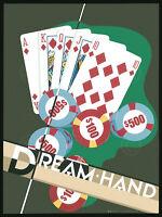 POKER ART PRINT Royal Flush by Lisa Danielle Gamble Cards Casino Poster 11x14