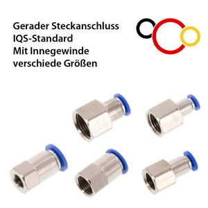 Gerade Steckverbinder Druckluft mit Innengewinde Fitting Push-Anschluss IQS
