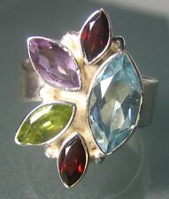 925 silver multi-stone cocktail cut gemstones ring UK L to M/US 6 to 6.5