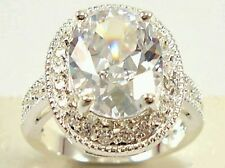 Sterling silver plated white sapphire & white topaz gemstones Ring SIZE L 1/2.