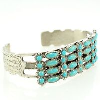 VINTAGE Bohemian Simulated Turquoise Silvertone CUFF BRACELET Southwest Inspired