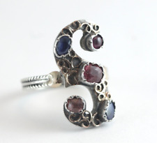 Arts & Crafts Sapphire Ruby SIlver & Gold Free Form Ring RARE Size 6