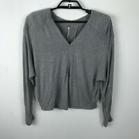 Free People Blouse Size S Gray Padded Shoulders Long Dolman Sleeve Comfy V Neck