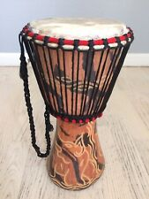 "African Djembe Drum Instrument Handmade  14""Tall 7""skin top. Hand carved"