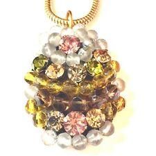 GIORGIO ARMANI COUTURE VINTAGE CRYSTAL BEADED GOLD PLATED PENDANT NECKLACE